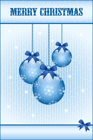 Blue christmas balls and bows decorated with snowflakes. Stars and snow in the background. Copy space for text. Stock Vector - 15817998