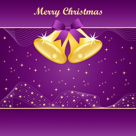 Gold christmas bells with pretty bow and yellow stars on a purple background. Copy space for text. Stock Vector - 15969178