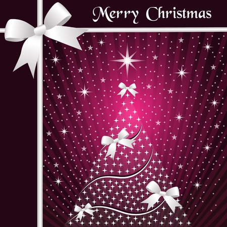 Christmas tree with silver ribbons or bows, sunburst, snow and stars on a pink glowing background. Stock Vector - 15969179