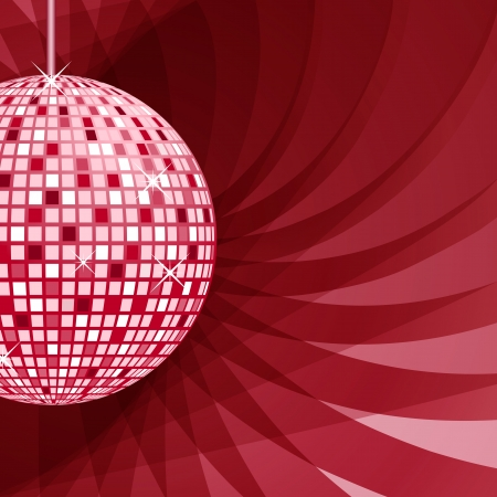 Disco ball in red and pink with sparkles set on an elegant red abstract background. Vector