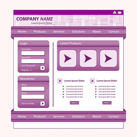 Website template design, purple corporate style, patterned banner, login module and stylish navigation bars