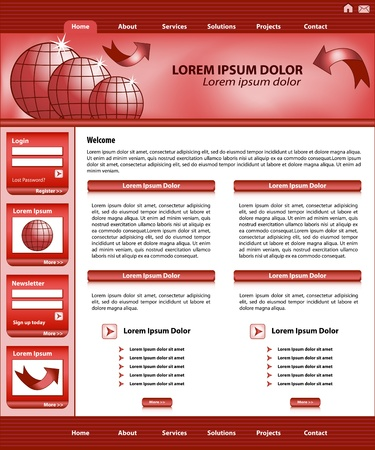 Website template design, red corporate style, layout and header elements. Stock Vector - 16115037