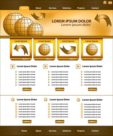 Website template design, brown and gold corporate style, layout and header elements. Stock Vector - 16115034