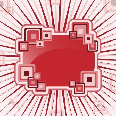 Abstract design element with squares and a sunburst or starburst background. Vaus shades of red and pink. Copy space for text. Stock Vector - 16115040