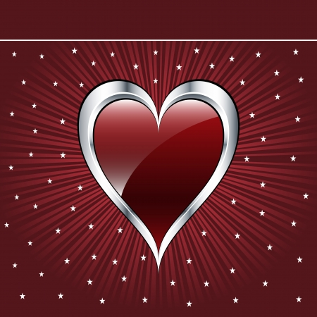 Valentine love heart in a dark red and silver on sunburst background with stars. Copyspace for text. Vector