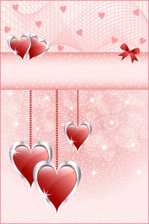 Red love hearts symbolizing valentines day, mothers day or wedding anniversary. Copy space for text. Vector