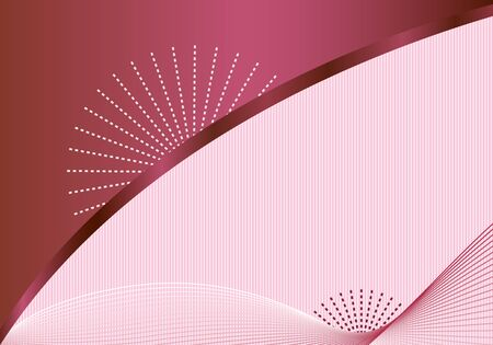 burgundy background: Abstract background with decorative elegant wavy lines, burgundy sunbursts, subtle striped pink background. Copy space for text.