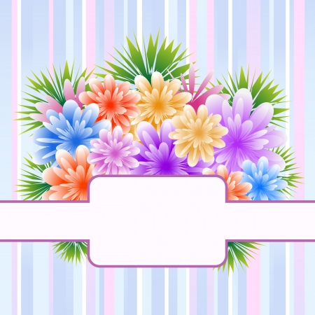 mothering: Flowers for mothers day, anniversary or birthday celebration set on a striped background. Copy space for text. Illustration