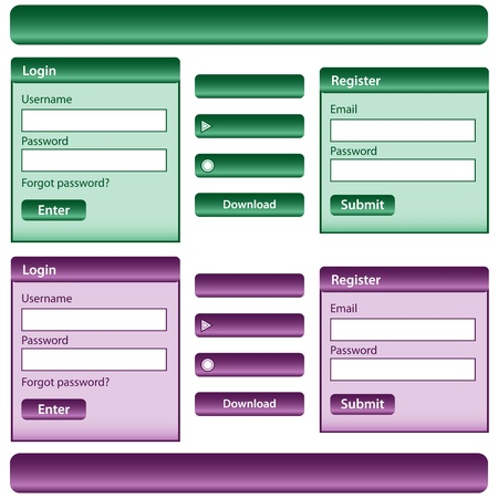 inc: Web design template inc elements with login and register modules, buttons and menu bars in green and purple. Isolated on white.