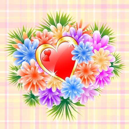 anniversaire mariage: Bouquet de fleurs rouges et coeur d'amour sur un ch�que fond. Du jour de m�re id�ale, Saint Valentin, anniversaire de mariage ou bithday.