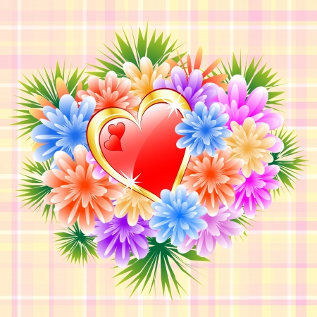 Flower bouquet and red love heart on a check background. Ideal mothers day, valentines day, wedding anniversary or bithday. Vector