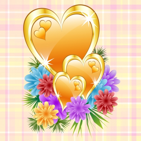 Gold love hearts with flowers on a check background. Ideal mothers day, valentines day, wedding anniversary or birthday. Vector