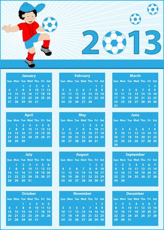 Calendar 2013 with a soccer theme   Child football player cartoon character bouncing his ball on his knee Stock Vector - 18055834