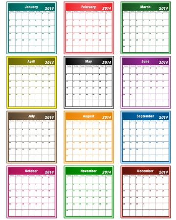 Calendar 2014 in assorted colors with large date boxes  Each month a different color  Vector