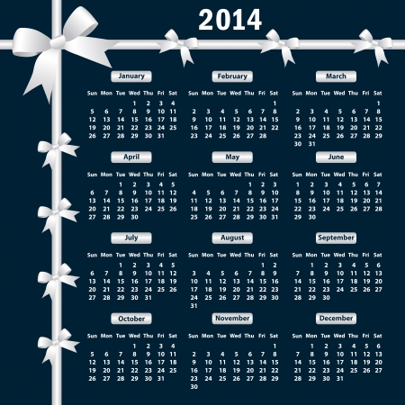 Calendar 2014 year with white bows on a dark background. Vector