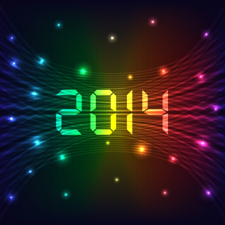 2014 Happy new year celebration background with neon lights style 2014 text. Glowing lights on dark background. Vector