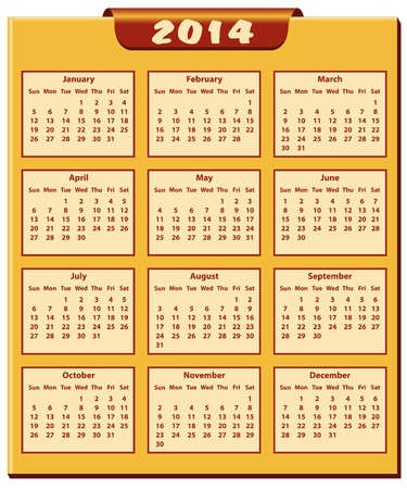 Calendar 2014 full year. January through to December months. Vector