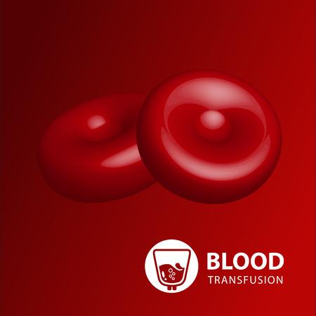 coagulate: Vector illustration of human erythrocytes of blood Illustration