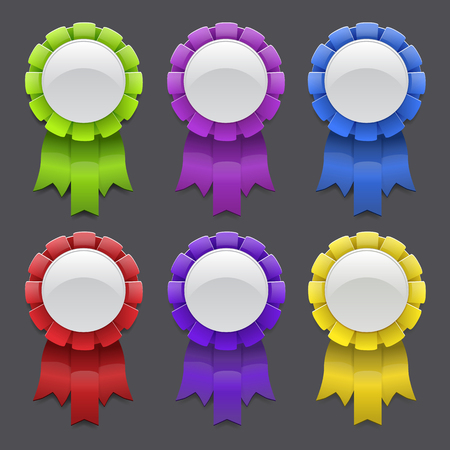 Set of vector medals with ribbons Vector