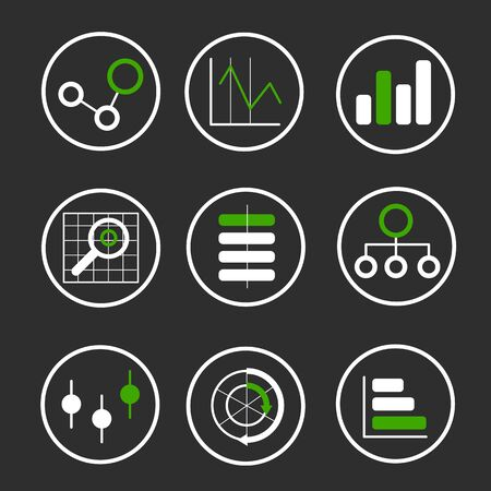 Vector collection of plane icons on a theme of computer technology and Big Data Illustration