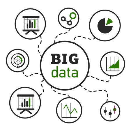 Vector illustration on the theme of computer technology and Big Data
