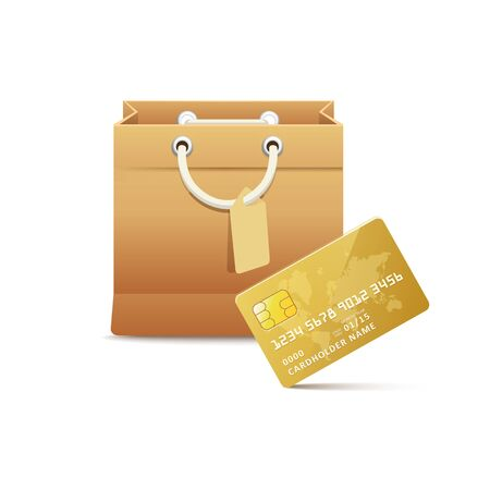 creditcard: Vector icon cardboard shopping bag and credit card