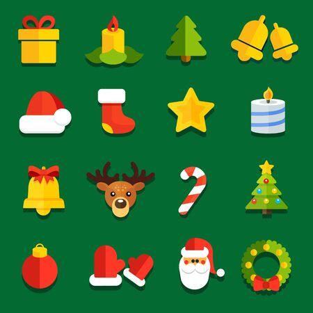 campanas de navidad: Colección de iconos del vector para la decoración de Navidad plana sitios festivas Vectores