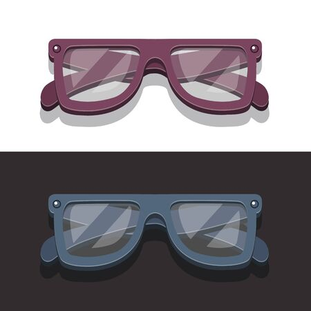 corrective lenses: Vector image retro glasses for fashionable parties in flat style