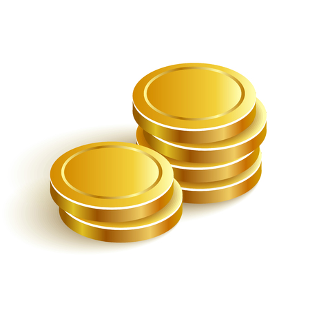 purchasing power: Gold Coins Vector Icon Eps Payment Two Illustration