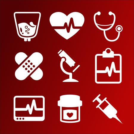 fondo rojo: Vector conjunto de iconos m�dicos Vectores