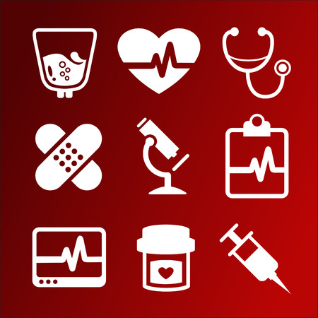 red and white: Vector set of medical icons