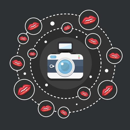artikelen: Vector illustratie voor een foto portfolio of voor artikelen over fotografie Stock Illustratie