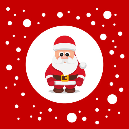 caroler: Red vector flat illustration Santa Claus