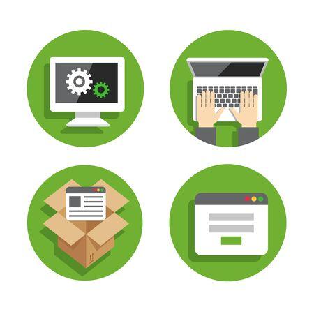 api: Set flat icons green circle background Illustration