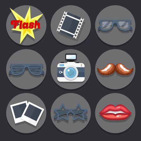 Vector set of icons on a theme pictures and props