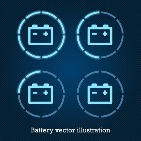 Vector Auto-Anzeige-Symbole blau Batterie Vektorgrafik