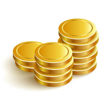 stack of coins: Gold Coins Vector Icon Eps Payment Illustration