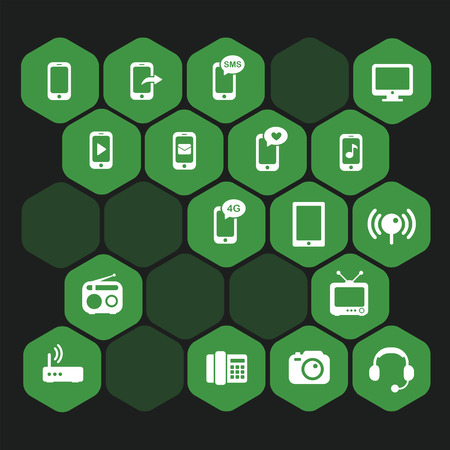 gprs: Set vectors green hexagon icons