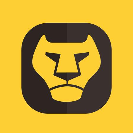 leon de dibujos animados: Icono de vector logo leon