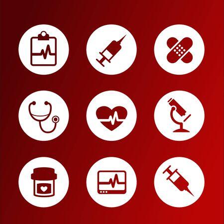 simbolo medicina: Colecci�n de iconos m�dicos vector plana