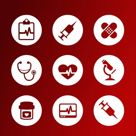 Collection of flat vector medical icons Illustration