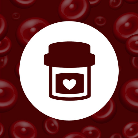 erythrocytes: Vector icon on the background of blood and erythrocytes. Illustration