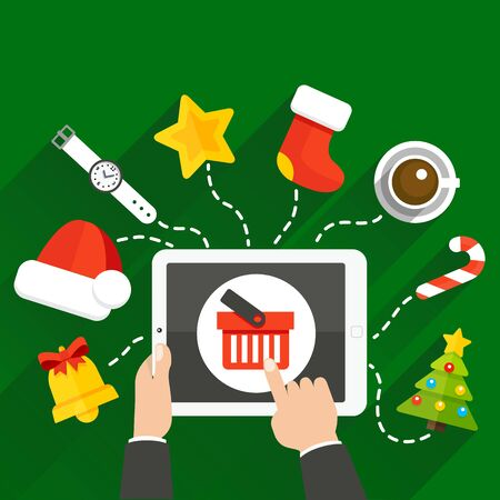 Vector illustration of choosing a Christmas or New Year gift online store with a tablet