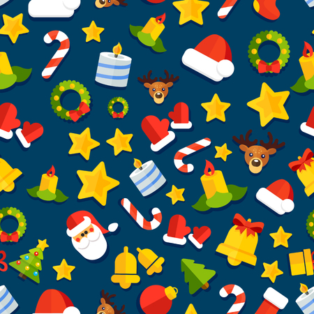 Seamless vector background with christmas elements in a flat style Vector