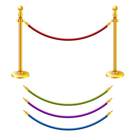 white and red: Vector illustration Rope barrier Illustration