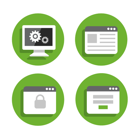 Set flat icons green circle background Illustration
