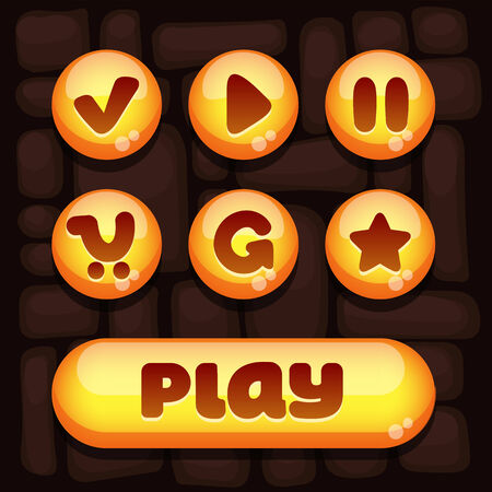okey: Super set of vector elements for mobile games with yellow elements