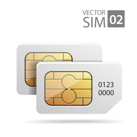 vector image of SIM-cards for mobile devices with chip
