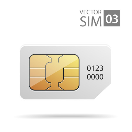 prepaid card: vector image of SIM-cards for mobile devices with chip