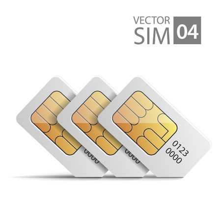prepaid: vector image of SIM-cards for mobile devices with chip